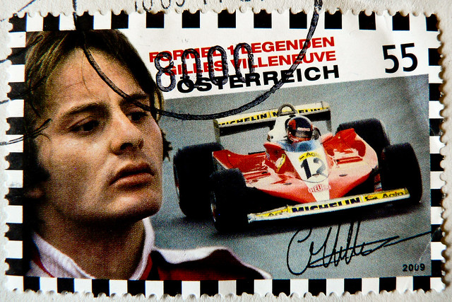 **GP Montreal** great stamp Austria 55c Gilles Villeneuve (18 Jan 1950 - 08 May 1982; canadian Formula One Legend) postage timbre Autriche selo sello francobollo Austria почтовые марки Австрия postzegel Oostenrijk طوابع النمسا frimærker østrig markica