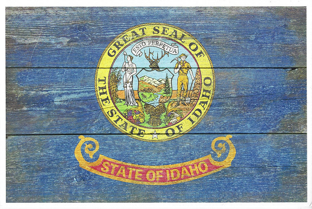 Idaho Rustic Flag - Lantern Press