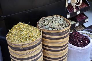 Spices displayed at Faysal square (Amman, Jordan 2019)