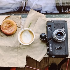 Black Canon P, Serenar 28mm lens & matching hotshot finder, coffee & cake