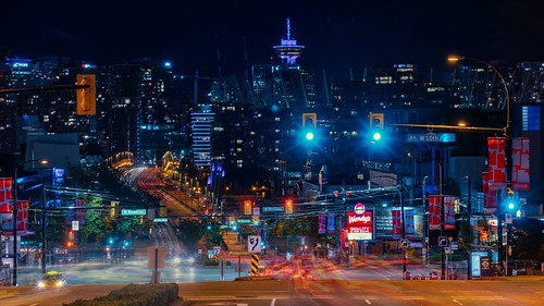 cambiestreet nightscene vancouver downtown cityscape streetview traffictrails road compression lighttrails britishcolumbia canada sony a7iii