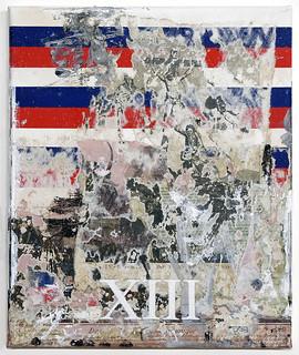 Zavier Ellis 'White Thirteen', 2019 Oil, oil bar, house paint, spray paint, pencil, collage on canvas 30x25cm