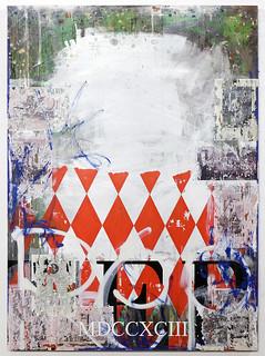Zavier Ellis 'Red Terror', 2019 Oil, oil bar, acrylic, house paint, spray paint, pencil, collage on birch ply 165x120cm