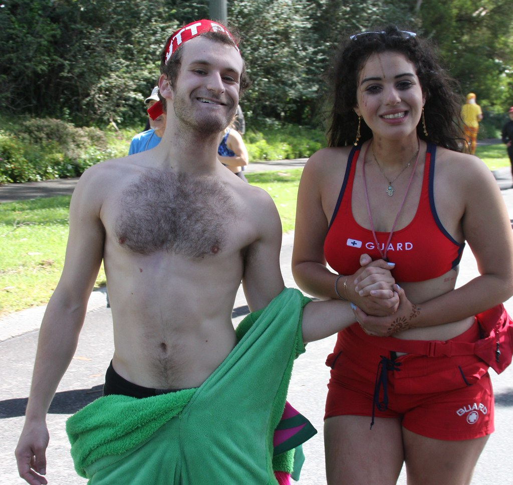 HANDSOME HAIRY HUNK & HIS LOVEY LADY ! ~ BAY TO BREAKERS 2019 ! ( safe photo )