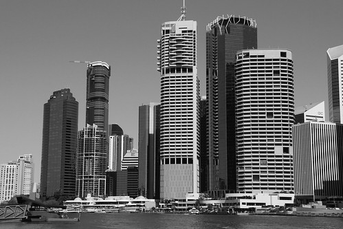 brisbane queensland australia blackandwhite blackwhite bw skyline skyscraper brisbaneriver waterfront riverfront facade building city bank cruise geometry blocks offices centralbusinessdistrict construction view new windows thecity