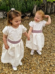 Two flower girls in Fairytale dresses at my son's wedding. Dupion silk and chiffon for the sashes. My granddaughters!