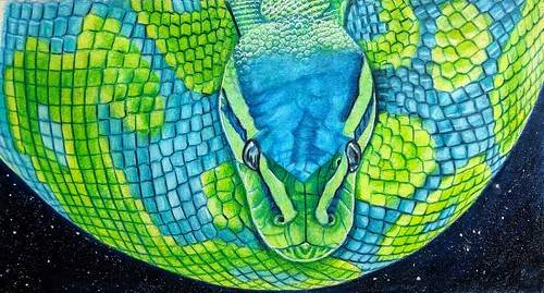 """""""Colorful Snake or Planet Earth?"""" By Diane Betz Granger  Advanced.  Photo credit: Sally Robertson  If I had to draw a snake,I wanted to draw the beautiful teal snake I saw...but I think this ended up looking like Planet Earth lol . Prismacolors on color p"""