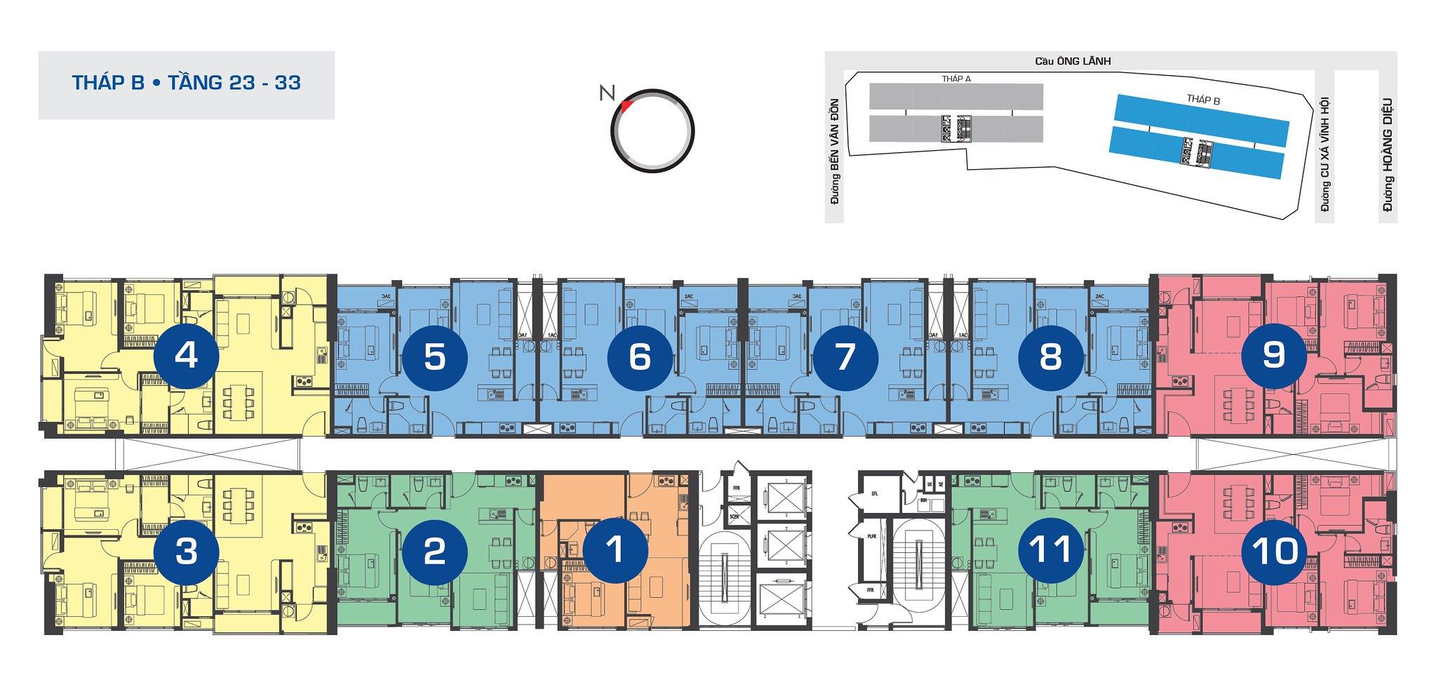 Mặt bằng tầng điển hình tháp B tầng 23-33 RiverGate Quận 4