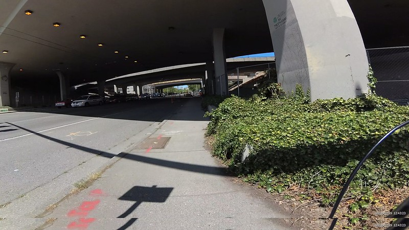 The sidewalk available at I-90 and Rainier is quite narrow, little more than a wheelchair wide.