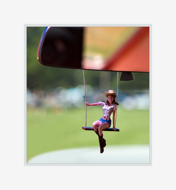 A Little Swinger....hanging from a mirror, zoom in, she wants to meet you :)