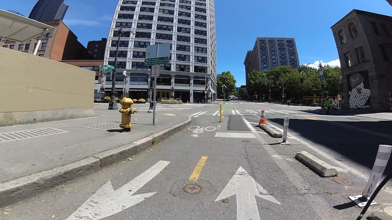 Yesler east onto 2nd Ave is a paint bike lane on the left side of the street.