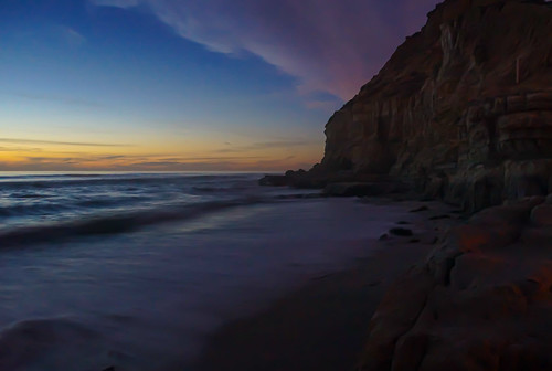 pacific california san diego beach cliff sunset blue waves rocks clouds yellow sony slta65v sonyalphadslr explore