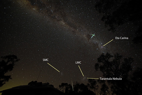Fireball between Magellanic Clouds labeled