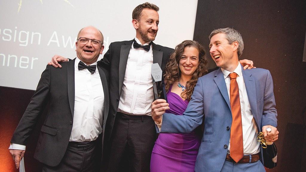 Ceryx Medical winners of the BioDesign Award. L to R; Prof. Imre Berger, Dr Stuart Plant, Dr Emily Grossman, Andrew Wilson
