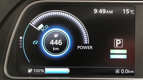 福岡市出発時 日産リーフe+(62kWh)メーター エアコンOFF