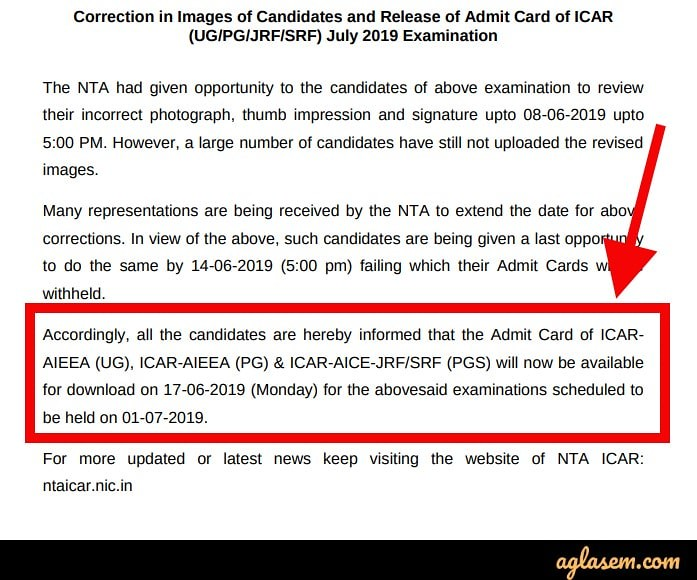 AIEEA UG and PG Admit Card 2019 Delayed, Download it from 17 Jun at ntaicar.nic.in