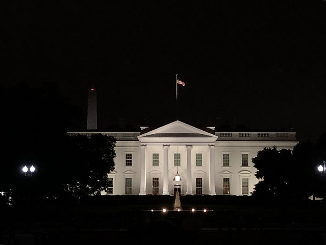 White House lit at night, from Lafayette Square, Washington, D.C.