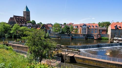 Emswehr mit Schleuse, Rheine