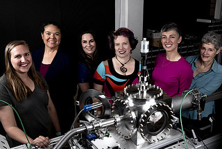 Members of Los Alamos National Laboratory's ChemCam Engineering Operations team. From left to right: Suzi Montano, Adriana Reyes-Newell, Roberta Beal, Lisa Danielson, Nina Lanza, and Cindy Little.