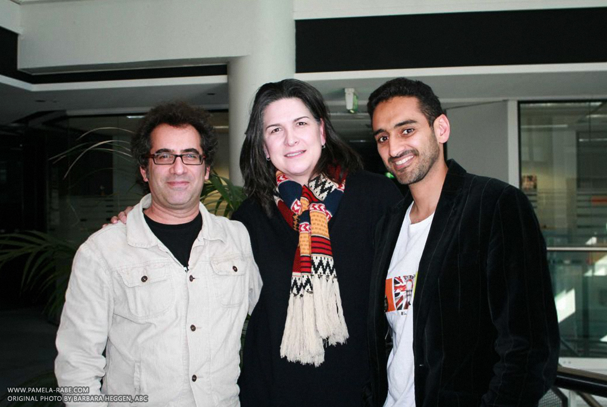 Image: Danny Katz, Pamela Rabe and Waleed Aly (Barbara Heggen, ABC)