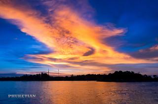 Sunset in Andaman Sea of Indian Ocean