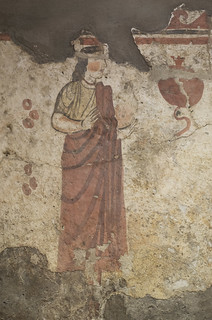 Painted tomb (1801) from Sarno: detail of processing woman