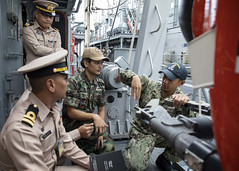 SATTAHIP, Thailand (May 30, 2019) Mineman 2nd Class Shaun Lao, assigned to the Avenger-class Mine Countermeasure Ship USS Pioneer (MCM 9), shows members of the Royal Thai Navy a mine neutralization vehicle aboard Pioneer during Cooperation Afloat Readiness and Training (CARAT) Thailand 2019. This year marks the 25th iteration of CARAT, a multinational exercise series designed to enhance U.S. and partner navies' abilities to operate together in response to traditional and non-traditional maritime security challenges in the Indo-Pacific region. (U.S. Navy photo by Lt. j.g. Alexander Fairbanks)