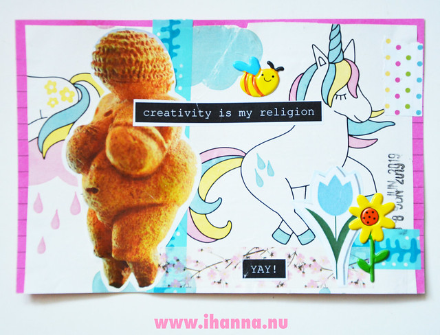 ICAD day 8 - my religion is creativity index card by iHanna #icad2019