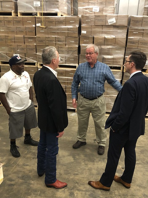 Brandon Lipps, FNS Administrator, touring Catholic Charities Food for Families Distribution Center