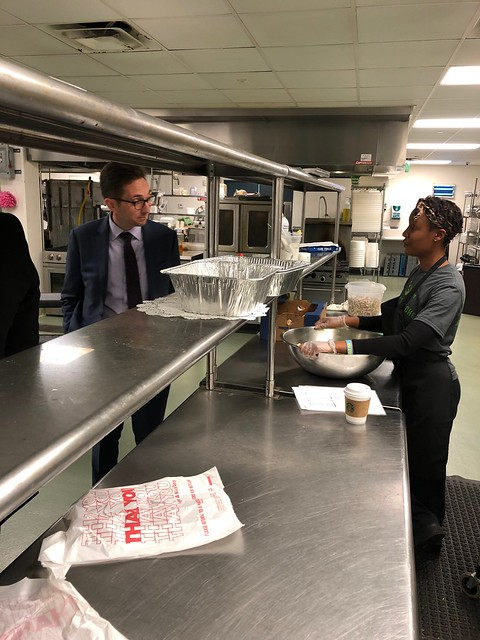 Brandon Lipps, FNS Administrator, touring Liberty's Kitchen food service training program