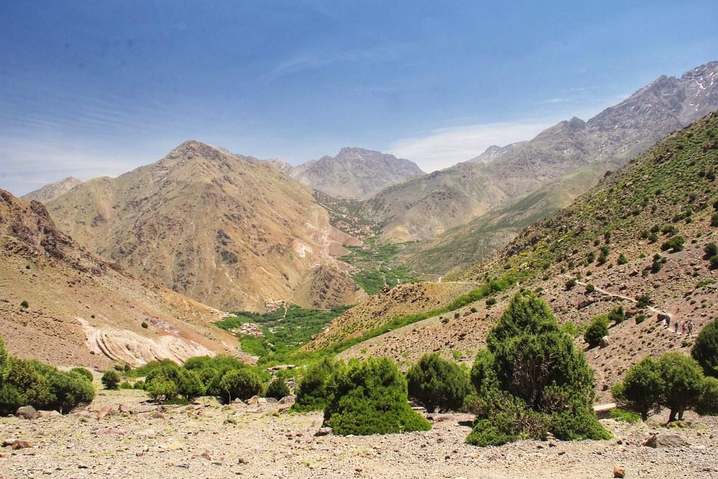 Tree-covered valleys, lower slopes of the Mount Toubkal trek