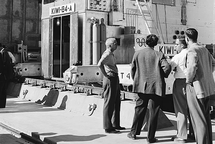 Scientists examine the Kiwi B4-A reactor developed at Los Alamos National Laboratory and used to power a nuclear rocket in the 1960s