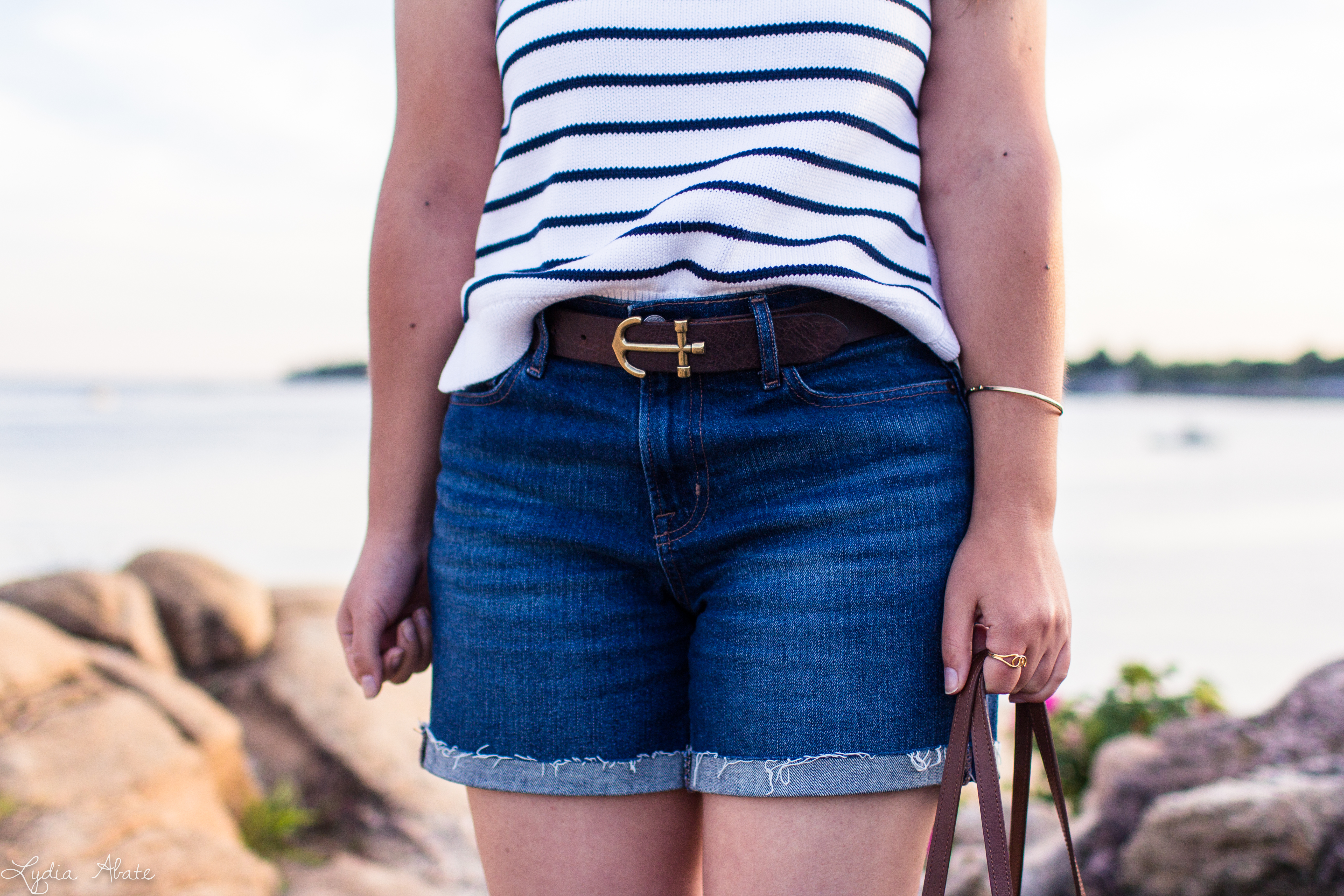 striped knit tank, denim shorts, anchor belt, monogrammed bag-11.jpg