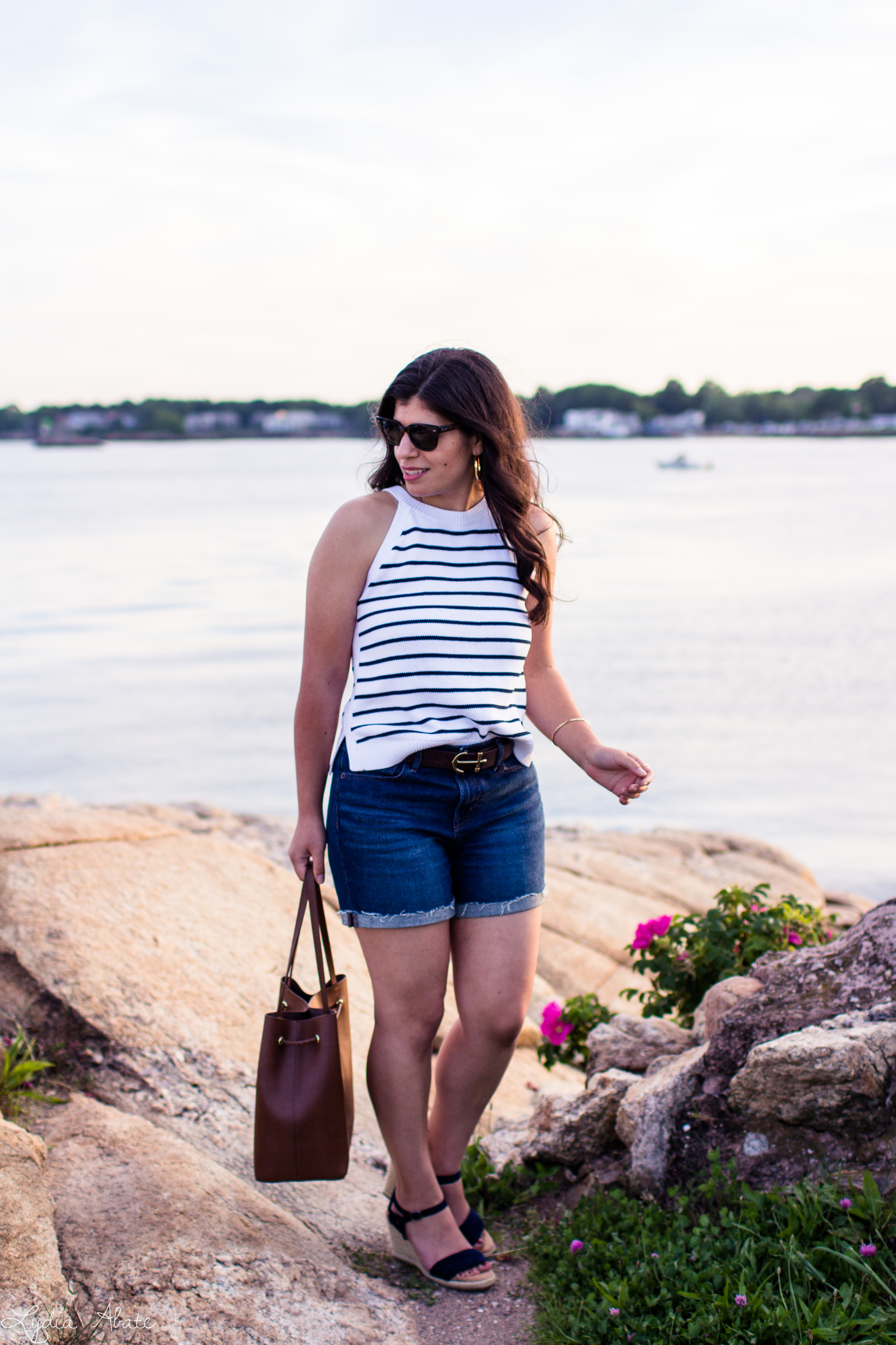 striped knit tank, denim shorts, anchor belt, monogrammed bag-16.jpg