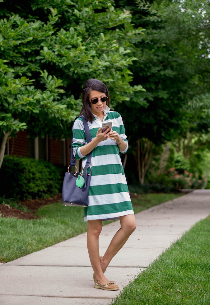 J.Crew 1984 rugby shirtdress, Strathberry Lana midi bucket bag, J.Crew lime coin purse as bag charm, Sperry Top-Sider Angelfish boat shoes
