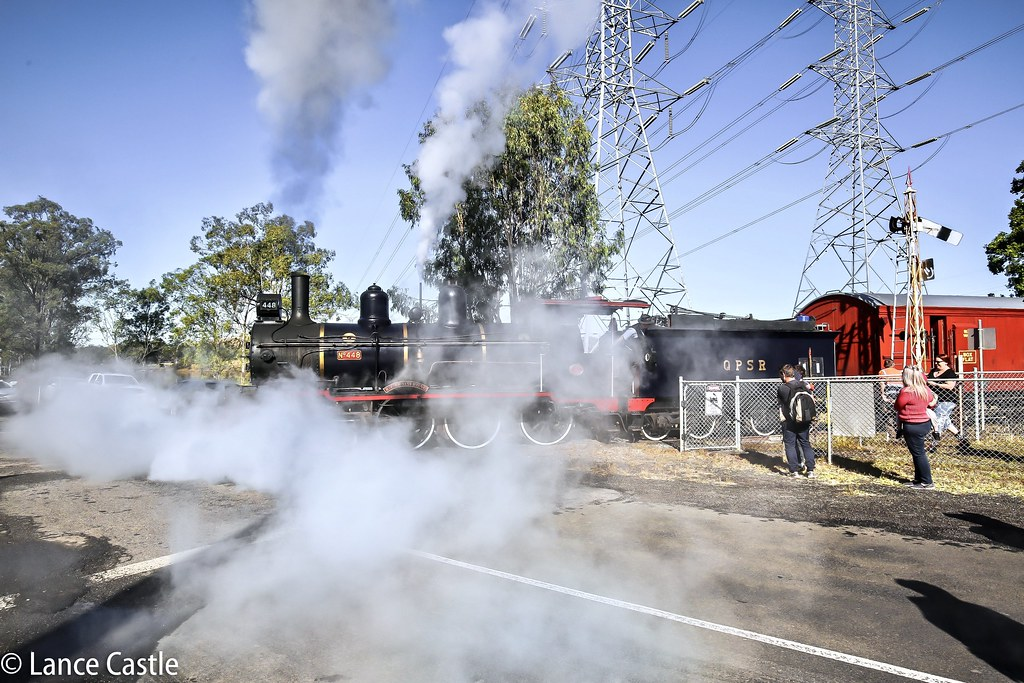 smoke and steam from 1908 steam train class PB15 for its first passenger run from Box Flat, Bundamba to Swanbank Station. Crossing Swanbank Coal Road Rail crossing by Lance CASTLE