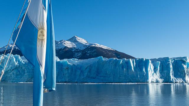 Argentina Flag in Perito Moreno Glacier - El Calafate - Santa Cruz - Argentina - 02754