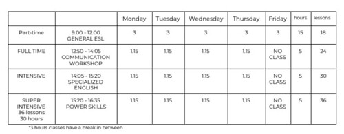 bli 2019 class schedule 2
