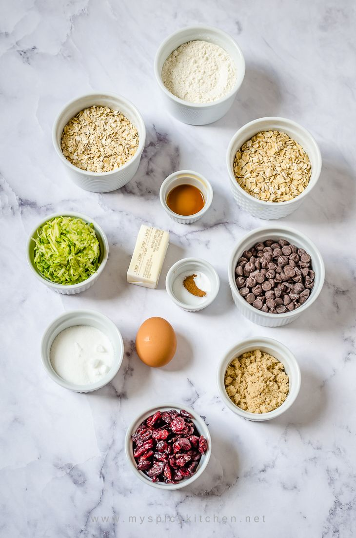 Ingredient shot of zucchini oats cranberry chocolate chip cookies