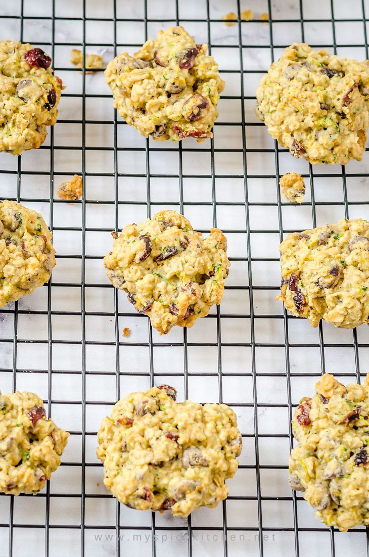 Zucchini oats cranberry chocolate chip cookies
