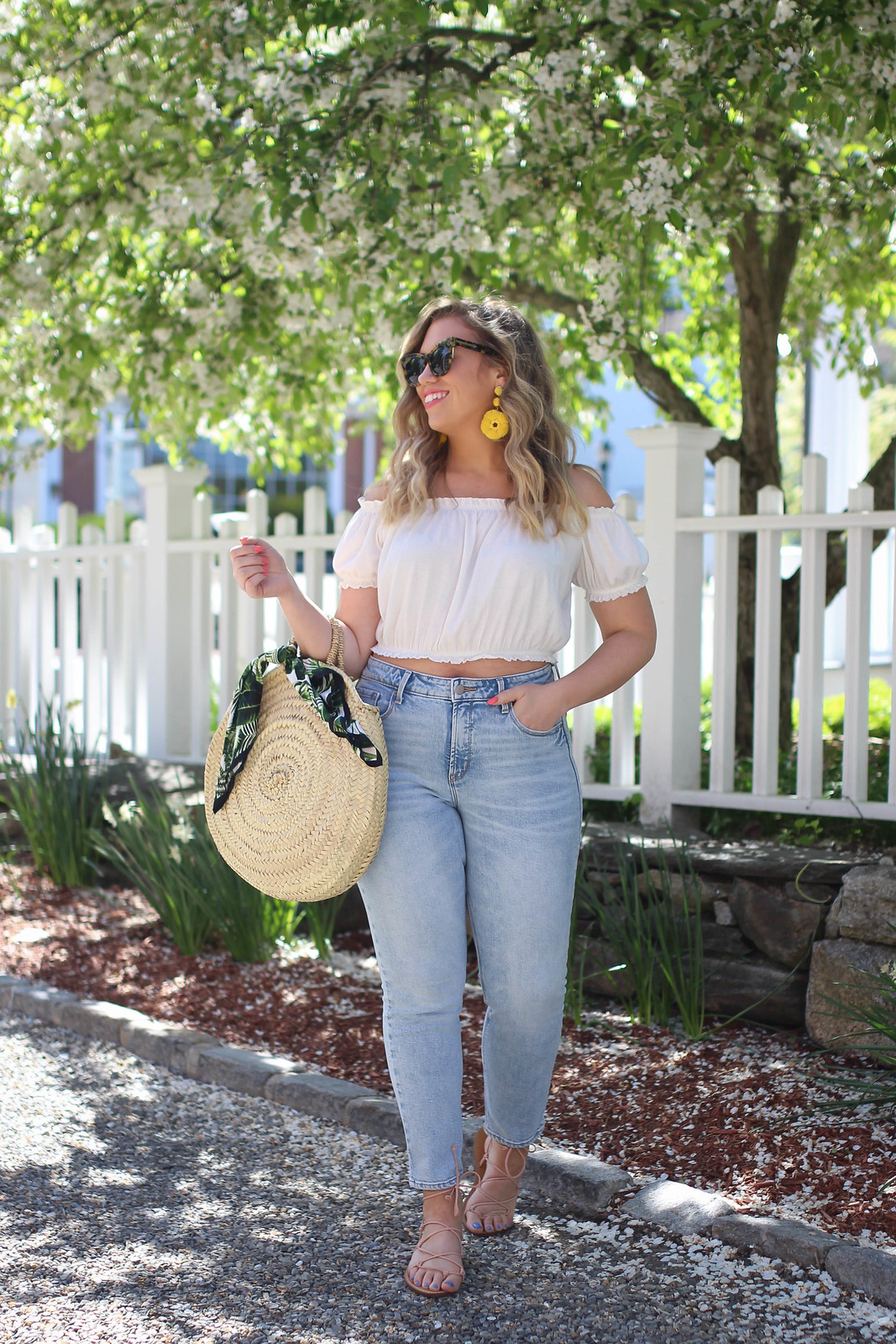 The Only Top You Need to Buy this Summer | Summer Wardrobe Staple | Summer Capsule Wardrobe | Summer Casual Outfit Inspiration| H&M Off the Shoulder White Crop Top | Old Navy High Rise Ankle Straight Jeans | Bedford New York Westchester Blogger