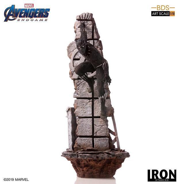 再現黑豹敏捷的躍動姿態! Iron Studios Battle Diorama 系列《復仇者聯盟:終局之戰》黑豹 Black Panther 1/10 比例決鬥場景雕像作品