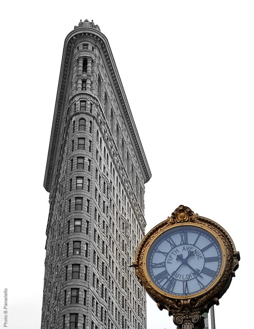 Flatiron Building and the 5 th avenue Clock