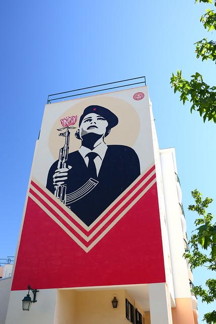 Shepard Fairey Revolutionary Street Art, Rua Natália Correia - Lisbon Portugal