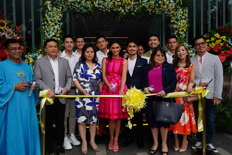 L to R (Front) – Father Richard of Mary the Queen Parish, Mr. Arnold Vegafria, Ms. Mary Simisim, Pia Wurtzbach, Marlon Stockinger, Ms. Bing Limjoco, Ms. Blanca Mercado, Mr. Carlo Orosa    L to R (Back) – Mr. David Licauco, Mr. Fabio Ide, Mr. Ervic Vijandre, Mr. Christian Bautista, Mr. Harry Morris