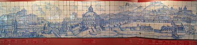 23 metre long Panorama of 1738 Lisbon in 1,300 tiles blue and white tiles made before Great Earthquake in 1755 - Museu Nacional do Azulejo National Tile Museum - Lisbon, Portugal