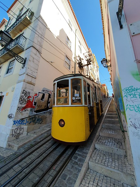 Funicular steep street - Lisbon, Portugal