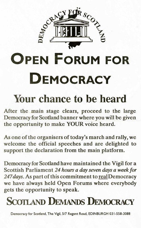 Scotland Demands Democracy march leaflet, 1992