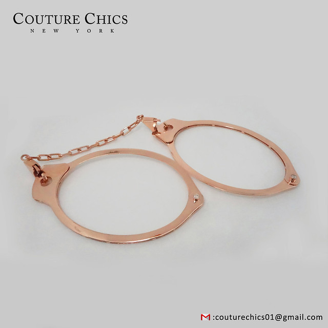 Natural 0.28 Ct. Diamond Pave Handcuff Bangle Bracelet With Chain Solid 18k Rose Gold Handmade Jewelry