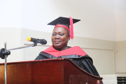 Miss Angela Afua Sarpong Ofori, Assistant Registrar, mentioning the names of graduands